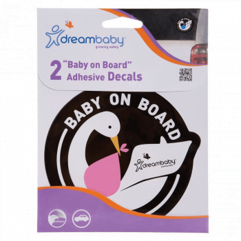 Dreambaby Adhesive Baby On Board Sign (2 Pack) - Pink