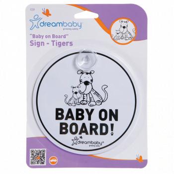 Dreambaby Round Baby On Board Sign (White/Black)