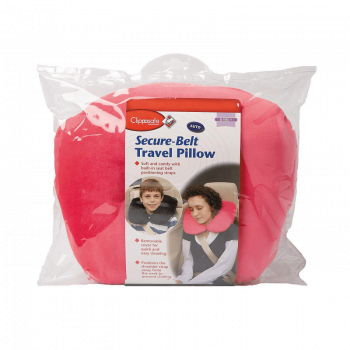 Clippasafe Secure-Belt Travel Pillow for Cars – Pink (8+ Years)