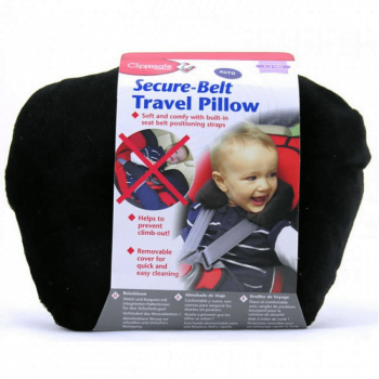 Clippasafe Secure-Belt Travel Pillow for Cars - Black (3-8 Yrs)
