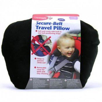 Clippasafe Secure-Belt Travel Pillow for Cars – Black (1-3 Yrs)