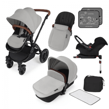 Ickle Bubba Stomp V3 All In 1 Travel System with ISOFIX Base - Silver On Black