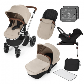 Ickle Bubba Stomp V3 All In 1 Travel System with ISOFIX Base - Sand On Silver