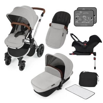 Ickle Bubba Stomp V3 All In 1 Travel System with ISOFIX Base - Silver On Silver