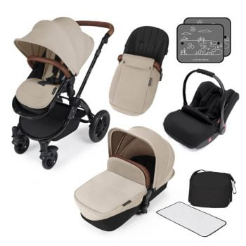 Ickle Bubba Stomp V3 All In 1 Travel System with ISOFIX Base - Sand On Black