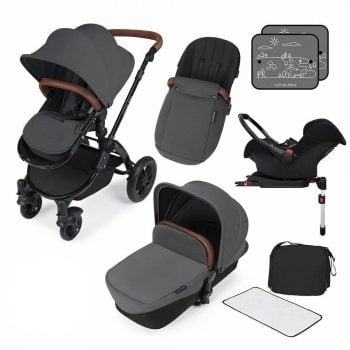 Ickle Bubba Stomp V3 All In 1 Travel System with ISOFIX Base - Graphite Grey On Black