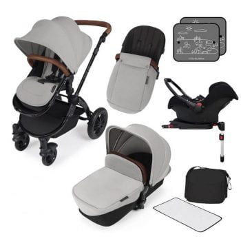 Ickle Bubba Stomp V3 All In 1 Travel System with ISOFIX Base - Black On Silver