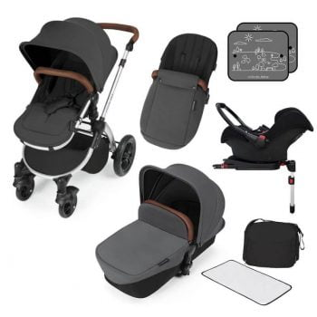 Ickle Bubba Stomp V3 All In 1 Travel System with ISOFIX Base - Graphite Grey On Silver