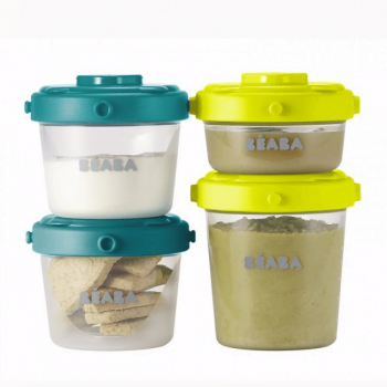 Beaba Set of 6 Food Conservation Jars 60ml & 120ml - BlueNeon