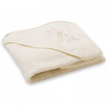 BabyDan Baby Bath Cape - Beige Hearts Design