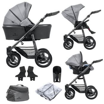 Venicci Carbo Lux 3 in 1 Travel System (9 Piece Bundle) - Natural Grey
