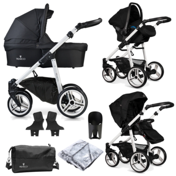Venicci Soft Vento 3 in 1 Travel System (9 Piece Bundle) - Black/ White