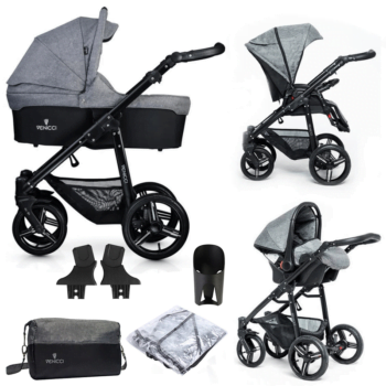 Venicci Soft Vento 3 in 1 Travel System (9 Piece Bundle) - Denim Grey / Black