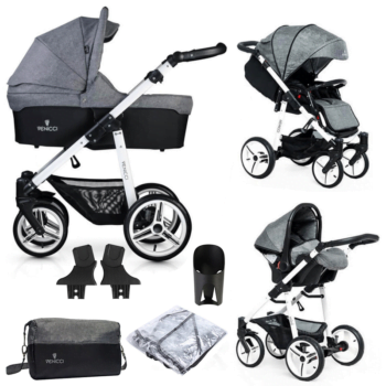 Venicci Soft Vento 3 in 1 Travel System (9 Piece Bundle) - Denim Grey / White