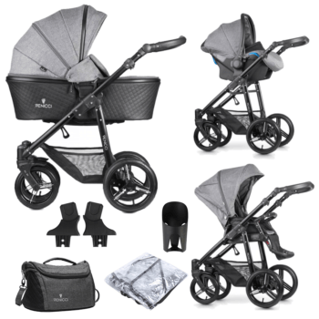 Venicci Shadow 3-in-1 Travel System (9 Piece Bundle) – Denim Grey