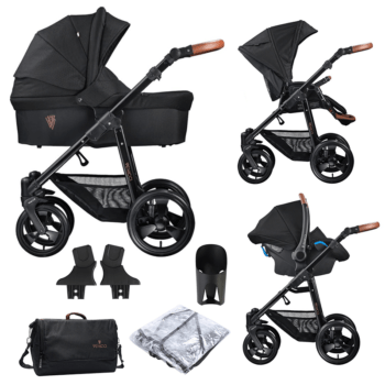 Venicci Pram Gusto 3 in 1 Travel System (9 Piece Bundle) - Black