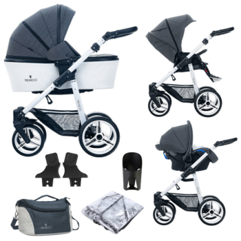 Venicci Pure 3 in 1 Travel System (9 Piece Bundle) - Denim Black