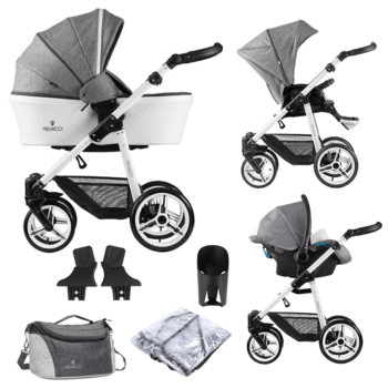 Venicci Pure 3 in 1 Travel System (9 Piece Bundle) - Denim Grey