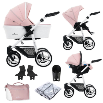 Venicci Pure 3 in 1 Travel System (9 Piece Bundle) - Rose