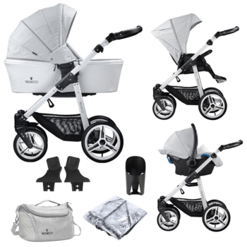 Venicci Pure 3 in 1 Travel System (9 Piece Bundle) - Stone Grey / White
