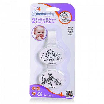 Dreambaby Pacifier Holder - Lion And Zebra 2 Pack