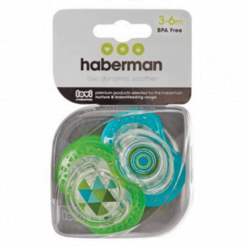 Haberman Soothers 3-6m - Blue Green