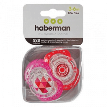 Haberman Soothers 6-18m Pink Red
