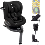 Joie i-Spin 360 i-Size Car Seat - Coal with FREE Elephant Chevron Changing Mat