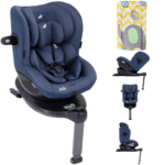 Joie i-Spin 360 i-Size Car Seat - Deep Sea with FREE Elephant Chevron Changing Mat