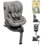 Joie i-Spin 360 i-Size Car Seat - Grey Flannel with FREE Elephant Chevron Changing Mat
