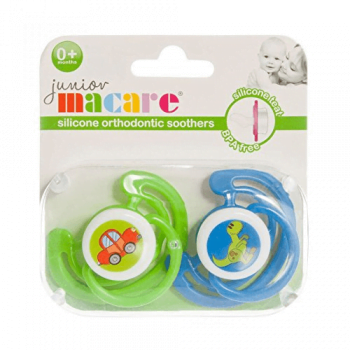 Junior Macare Orthodontic Soothers 0m+ - Blue & Green