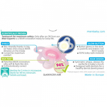 MAM Soother Clip Twin Pack - Pink 1