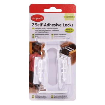 Clippasafe Self-Adhesive Drawer Latch Lock - 2 Pack