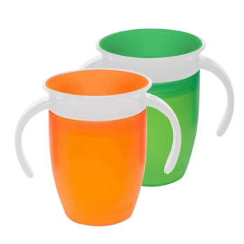 Munchkin Miracle 360 Trainer Cup (7oz/207ml) - Green & Orange (2 Pack)