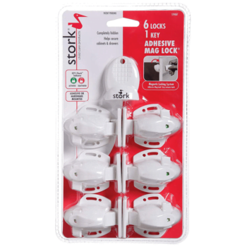 Stork Adhesive Magnetic Locks with Key - 6 Pack