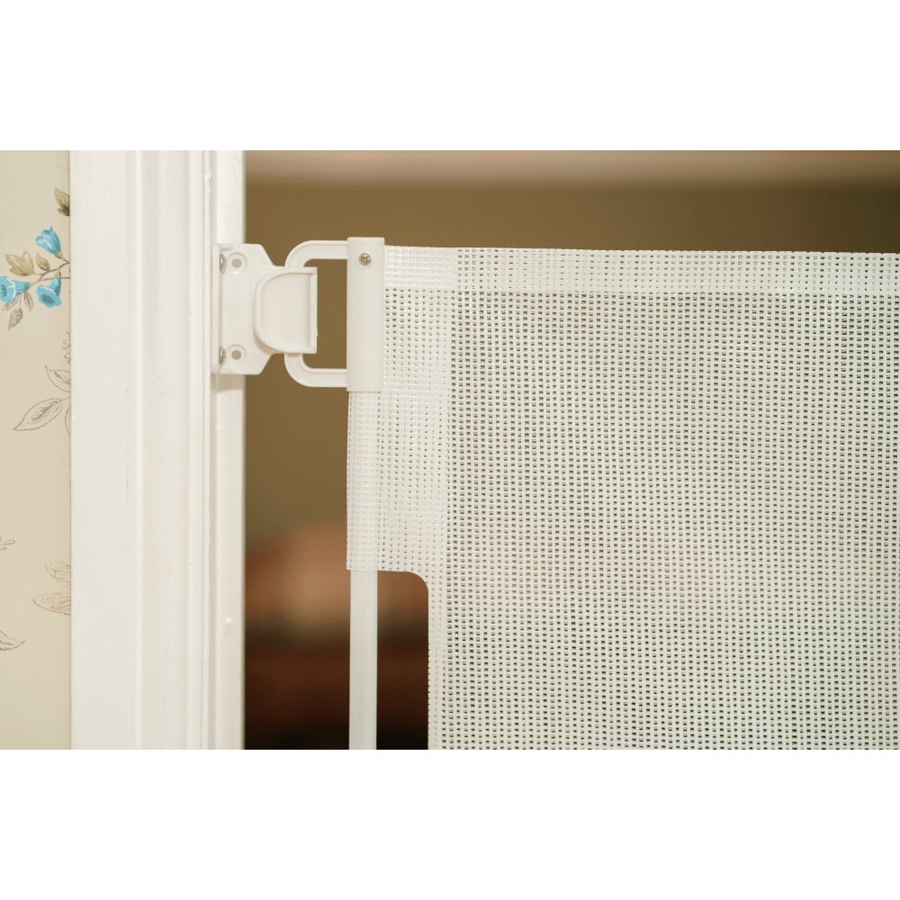 Callowesse© Air Retractable Stair Gate & Free Spacers 0-140cm – White