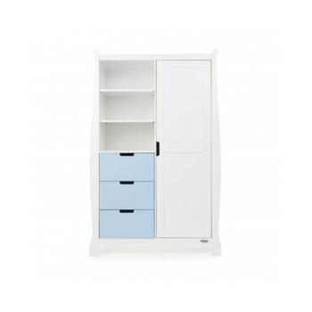 Obaby Stamford Double Wardrobe – White with Bonbon Blue