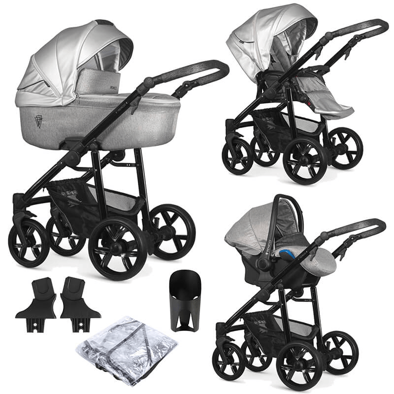 Venicci Valdi 3 in 1 Travel System (9 Piece Bundle) - Silver