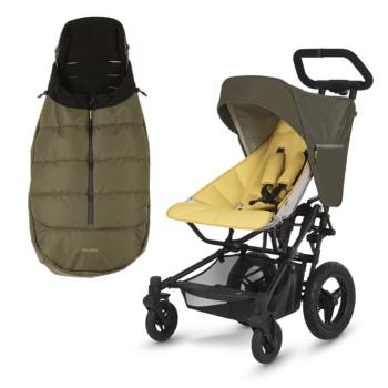 Micralite FastFold Stroller + Free Footmuff - Khaki/Saffron