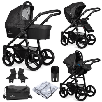 Venicci Soft 3 in 1 Travel System (9 Piece Bundle) - Denim Black