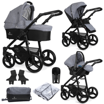 Venicci Soft 3 in 1 Travel System (9 Piece Bundle) - Medium Grey