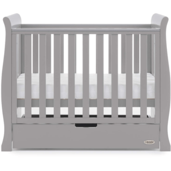 obaby stamford space saver cot warm grey 2