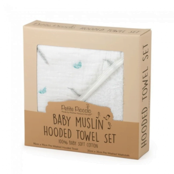 Petite Piccolo Hooded Towel & Washcloth Set - Feathers