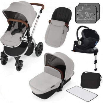 ickle bubba i-size travel system silver on silver