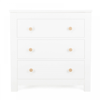 Cuddleco asylesbury 3 drawer dresser satin white ash front