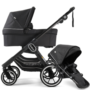 NXT90 Carrycot and Ergo Seat Lounge Black on black chassis
