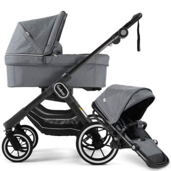 NXT90 Carrycot and Ergo Seat Lounge Grey on black chassis