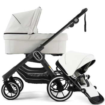 NXT90 Carrycot and Ergo Seat White Leatherette on black chassis