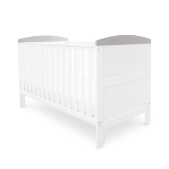 Babyhoot coleby cot bed white grey trim
