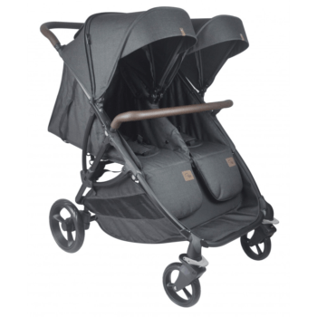 Roma Gemini Double Pram - Black